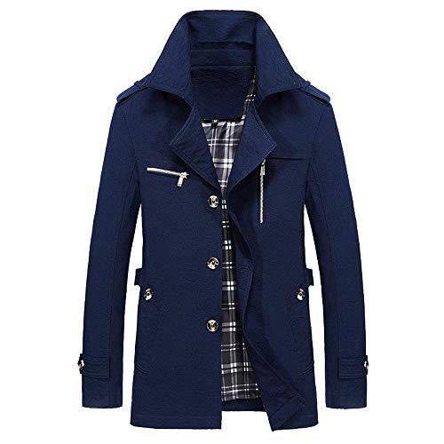 Hommes Manteau Hiver Chaud Manteau Veste Long Boutons Trench Autumne Casual Sweatshirt Sport Pullover Blouse Blouson Pardessus Dark Bleu XL