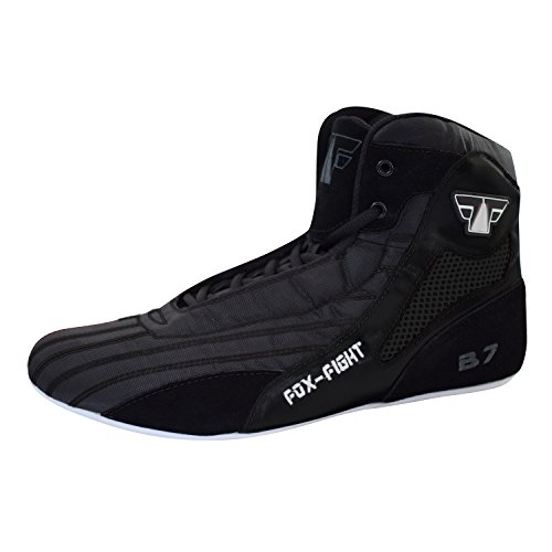 B7 Kampfsport Schuhe BLACK Edition Boxstiefel Ringer athletik Fitness Gym Box Hog Bodybuilding High Tops FOX-FIGHT 43 black -