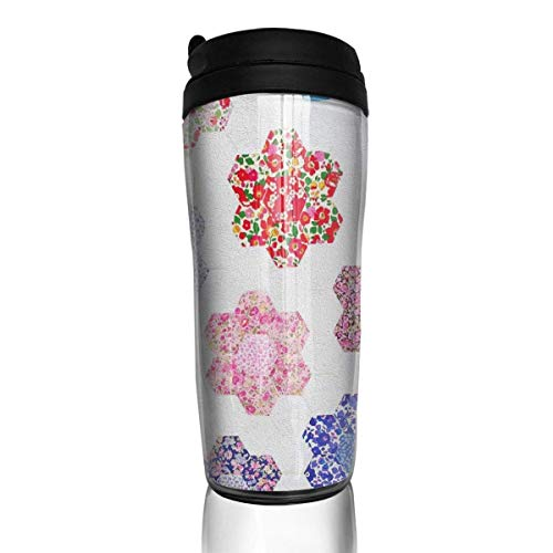 Travel Coffee Mug Granny Hexagons 12 Oz Spill Proof Flip Lid Water Bottle Environmental Protection Material ABS