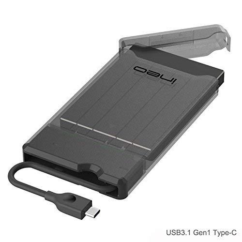 USB 3.1 Type C Case Esterno per Disco Rigido 2.5' - ElecGear 2.5-pollici SATA SSD e HDD Hard Disk Enclosure Custodia, supporta UASP, senza attrezzi, USB Tipo C cavo