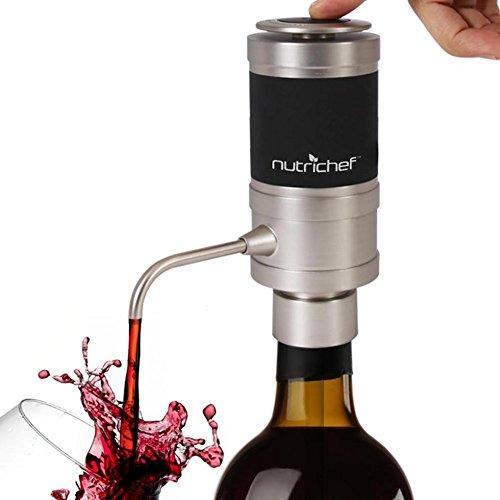 NutriChef Elektrischer Weinbelüfter - einzigartiges Luftdekanter-System für Rot- und Weißwein - tragbare und automatische Flaschenentlüftungsarmatur-Spenderpumpe - NutriChef -