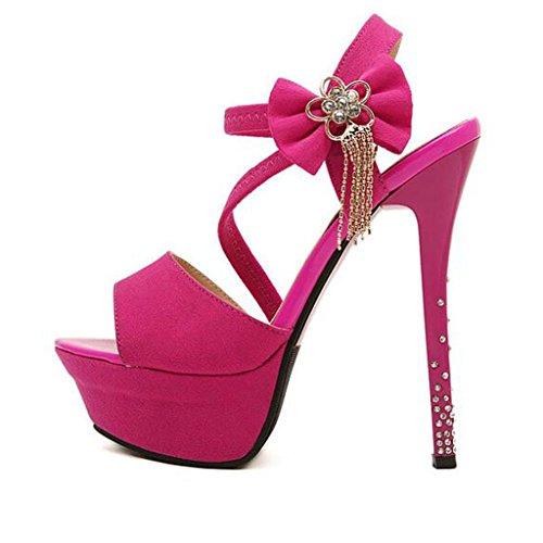 W&LM Signorina Tacchi alti sandali Fiori Strass Bocca di pesce bene Piattaforma impermeabile sandali roses red