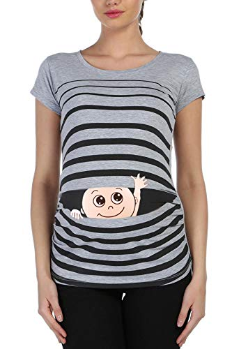 M.M.C. Winke Winke Baby - Lustige witzige süße Umstandsmode gestreiftes Umstandsshirt mit Motiv für die Schwangerschaft Schwangerschaftsshirt, Kurzarm (Grau, X-Large)