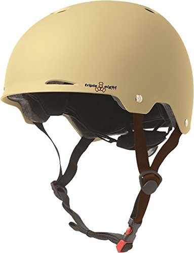 Triple 8 Gotham Cream Matte Rubber X-Small / Small Skateboard Helmet - CE/CPSC Certified by Triple Eight