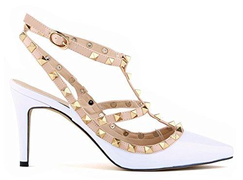 Minetom Damen Wies High Heels Niet Spleiß Gürtelschnalle Stöckelschuhen Die Füße Schuhe Pumps Partei Frühjahr Sommer Herbst Mode Weiß