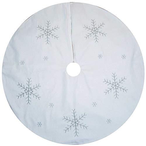 WeRChristmas Deko-Element zum Umhüllen des Weihnachtsbaum-Stamms, 120cm, groß, mit Schneeflocken-Motiv, Weiß/silberfarben