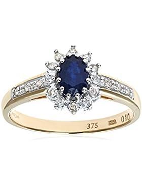 Revoni - 9 Karat Gelbgold-Saphirring mit Diamantenrändern