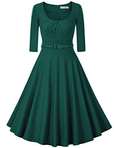 MUXXN Damen Retro 3/4 Arm Rockabilly Cocktailkleider Freizeit Swing Kleid Vintage Ballkleid(2XL, Deep Green) (60er-jahre-baumwolle Jahre, 1960er)