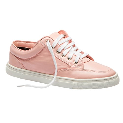 TEDISH Chaussures Femme Confortable Lacets Plat de Marche Cuir Outdoor Loisirs Dames Baskets Mode-TD002 Amorette Pink
