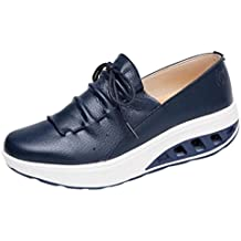cafc981ccb9de Baskets Basses Plateforme en Cuir à Lacets Femme Chaussures Compensées  Overdose Automne Hiver Casual Sportwear Classiques