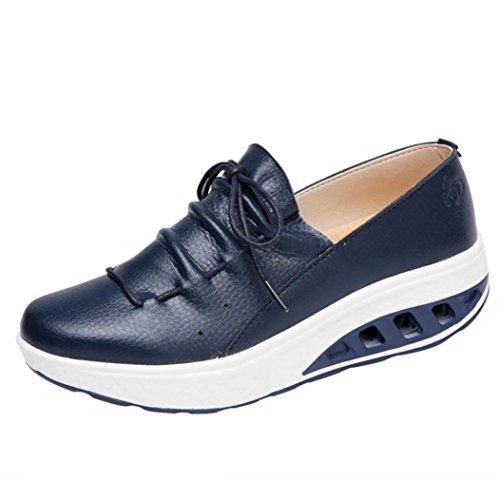 Overdose-Chaussures Platform Trainers Femme Tennis à Enfiler Pas Cher Baskets à Talons Plates Soldes Été Automne Comfort Sneakers (36 EU, Cuir-Navy)