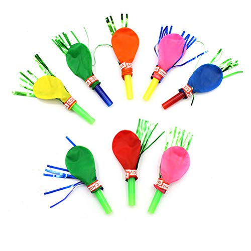 Toyvian Party Blow Outs Luftballons Mixed Glitter Fransen Metallic Krachmacher Kinder Nette Blowouts Pfeifen Party Favor Spielzeug 30 stücke