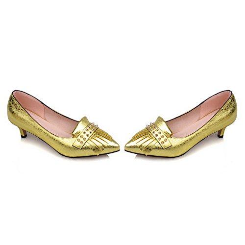 AllhqFashion Damen Ziehen Auf Spitz Zehe Mittler Absatz Eingelegt Pumps Schuhe Gelb