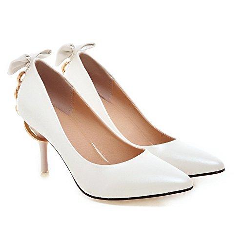 AllhqFashion Femme Matière Souple Tire Pointu Stylet Couleur Unie Chaussures Légeres Blanc