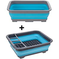 AiO-S - OK Spülschüssel Set Abtropfgitter Spülset Campingküche Faltbar Campingschüssel
