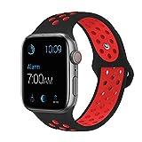 Tervoka Compatible with Apple Watch Correa 44mm 42mm, Banda Pulsera Brazalete de Repuesto de Silicona Suave Deportivo para iWatch Series 4/3/2/1, Tamaño M/L, Black/Red