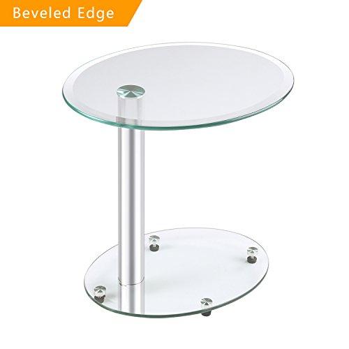 RFIVER Furniture Mesa de centro de vidrio transparente, mesa auxiliar, mesa de sofá, mesita de noche, mesa de nido, ovalada 45x35x45 (H) cm ET3001