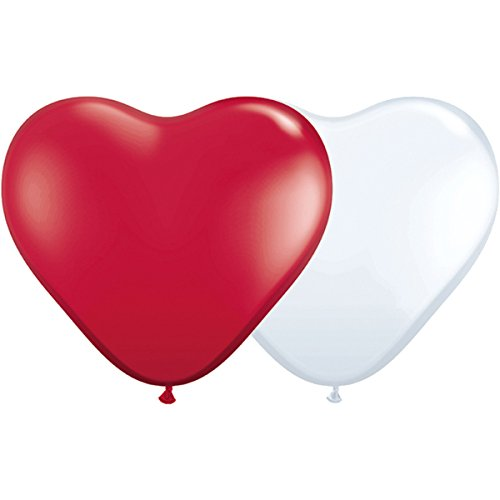 partydiscount24 10 Riesen-Herzballons Rot & Weiß Ø 40 cm - Bestseller