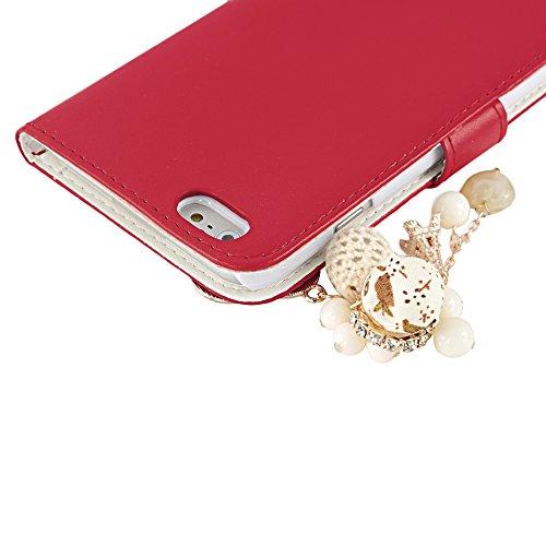 Coque iPhone 6 Plus / iPhone 6S Plus Mavis's Diary Étui en Cuir Coque de Protection Housse Portefeuille Étui à Rabat Support Flip Phone Case Cover Blanc Bling Strass Perle Fleur Frange Rouge