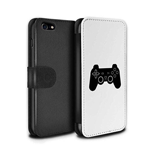 Stuff4 Coque/Etui/Housse Cuir PU Case/Cover pour Apple iPhone 8 / Pack 20pcs Design / Manette Jeux Vidéo Collection PS1/PS2/PS3 Noir