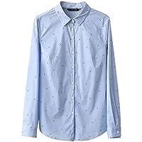 Cnsdy Camisas para Mujeres de Manga Larga Solapas Pequeñas Camisas de impresión Paraguas Camisas de Mujer