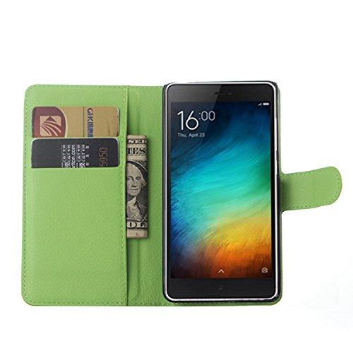 Tasche für Xiaomi Mi 4C Hülle, Ycloud PU Ledertasche Flip Cover Wallet Case Handyhülle mit Stand Function Credit Card Slots Bookstyle Purse Design grün
