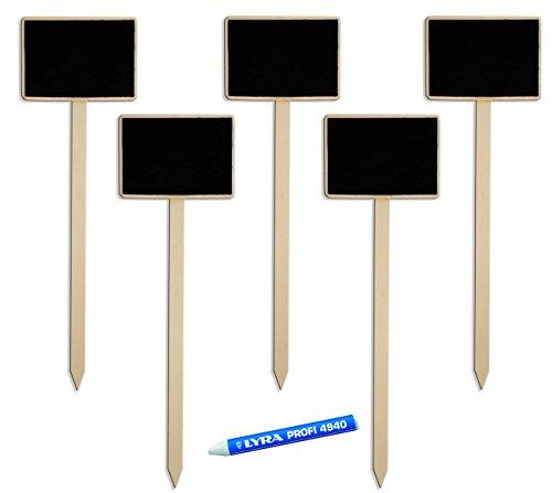 HomeTools.eu – 6er Set, 5X Klassische Holz Pflanz-Schilder + Markier-Stift weiß   Beet Balkon Kräuter-Garten   Landhaus   beschreibbar, 25cm + Stift