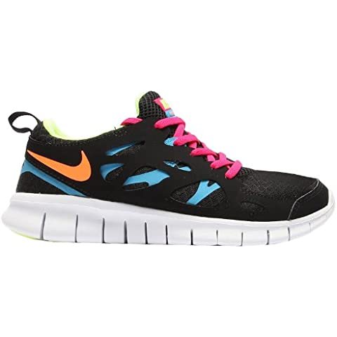 Nike Free Run 2 (GS) Laufschuhe black-atomic orange-volt ice-vivid blue - 35,5
