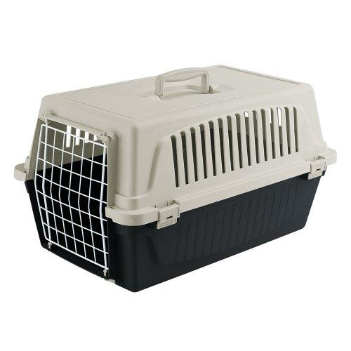Ferplast Transportbox Atlas 10 für Hunde und Katzen bis zu 5 kg – Stabile Tragebox in Schwarz mit Weiß - inkl. ergonomischem Griff – Maße: 48 x 32,5 x 29 cm