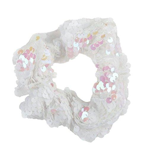 TUDUZ Mädchen Headwear Elastische Haarbänder Pailletten Ornament Ringe Haare Gummibänder Mehrfarben Stretchbar Haargummi Bands (Silber)