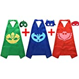 PJ Masks Costumes For Kids Set of 3 Catboy Owlette Gekko Mask with Cape (27.5 inches), Model: , Toys & Gaems