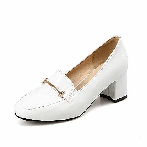 Odomolor Damen Mittler Absatz Ziehen auf Quadratisch Zehe Pumps Schuhe, Weiß, 36