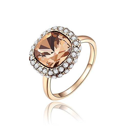 Hypoallergen Fashion Rose Gold Orange Runde Diamant Ring Neujahr Neue Geschenke für Frauen Zubehör , Roségold , 6 (Orange Diamant-ringe Für Frauen)