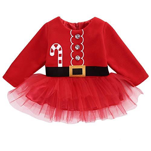 szseven Baby Mädchen Kleid Mein erstes Weihnachtskostüm Prinzessin Santa Outfits Party Fancy Dress