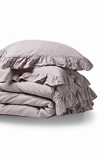 MEADOW PARK Leinen Baumwolle Bettbezug Set, Steppdecke, Set, One Bettbezug mit Zwei kissenrollen, Vintage Garment Washed, Super Soft Betten Set Queen Natur (Queen Bett Set Mit Bettbezug)