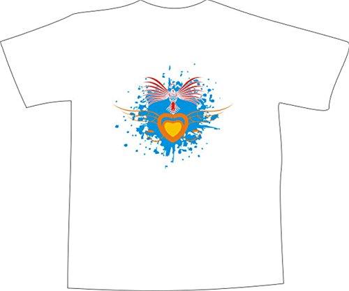 T-Shirt E449 Schönes T-Shirt mit farbigem Brustaufdruck - Logo / Grafik - abstraktes Design - Farbklecks mit Vogel und Herz Mehrfarbig