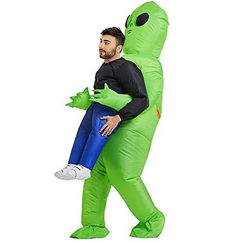TVOQ Spooktacular Creations Aufblasbares Kostüm Air Deluxe Aufblasbarer Alien Reiter Kostüme Für Erwachsene Oder Kinder-Halloween-Kostüm Cosplay (Ganzkörper Alien Kostüm)