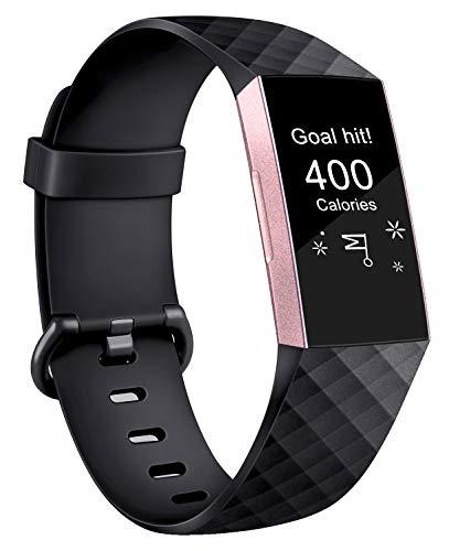 AK Armband Kompatible Für Fitbit Charge 3, Klassisch Sport Verstellbares Ersatz Armbänder für Fitbit Charge 3 (A Schwarz, L)