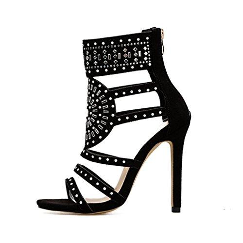 Damen Fashion Stick ein Bohrer Sandalen Exotic High Heels Sommer Luxus Kleid Schuhe in EU 35-39 (35, Schwarz)