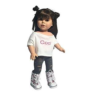 The New York Doll Collection Color Liso Juego de 6-Naranja, Rosa, Azul, Gris, Amarillo, Rojo-Leggings con Ranuras para muñecas de 45 cm (D248)