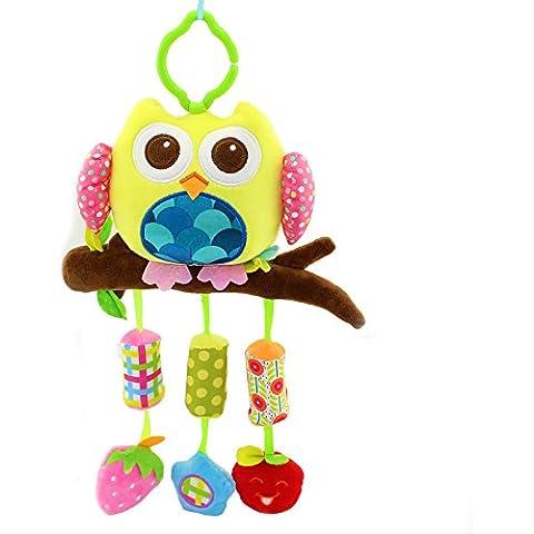 Vycloud (TM) 40cm de la felpa del beb¨¦ del b¨²ho campanas torno colgantes del juguete del beb¨¦ de la cama con 3 campanas de viento elefante b¨²ho peque?o pez de juguete suave