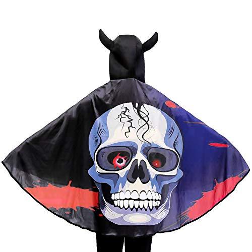 IBLUELOVER Kostüm Halloween Mädchen Jungen Weihnachten Umhang Damen Herren Hexe Skull Leopard Cape Party Zubehör mit Hornhut Robe Teufel Dracula Vampir Cosplay Kleidung für Karneval Fasching