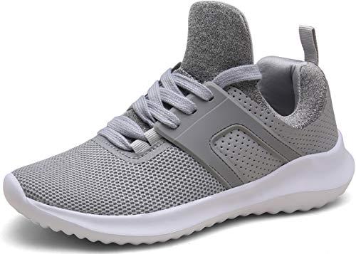 DENGBOSN Sportschuhe Herren Damen Laufschuhe Leichte Turnschuhe Schnürer Fitness Sneaker,XZ666-lightgrey-EU43 (Turnschuhe Damen Wandern)