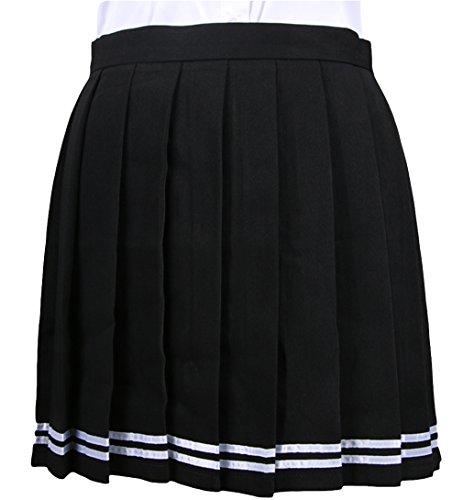 Mädchen Süße Sailor Kostüm - La vogue Mädchen Damen A-Linie Schule Uniform Rock Minirock Black Maße3(L)