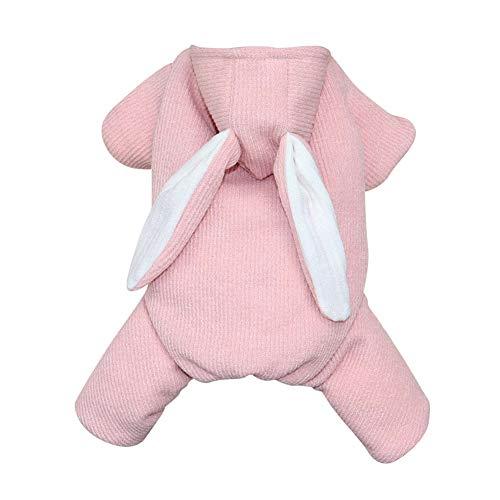 Maritown Haustier Hund Winter Herbst Fleece gefüttert Mantel niedlichen Kaninchen geformt warme Kleidung Puppy Pyjamas Xmas Party lustiges (Pink Furry Kostüm)