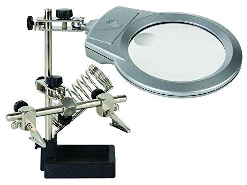 Velleman 167008 Dritte Hand mit Lupe, LED-Lampe und Lötkolbenständer