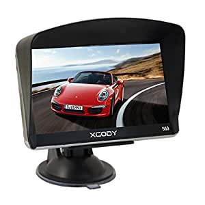 Xgody 560 Portable Car GPS Navigation 5 Inch Sat Nav Touch Screen Built-in 8GB 128MB RAM FM MP3 MP4 Lifetime Map Vehicle Navigator with Sun Shade(560F+SC)