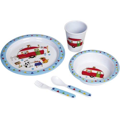 Kindergeschirr mit Tiermotiv aus Melamin 5-teilig, Bruch- und Spülmaschinenfest // Kinder Geschirr Set Frühstücksset Kinderbesteck Melamin