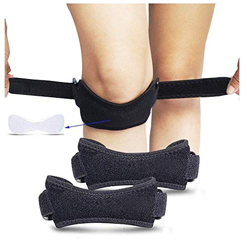 SiaMed 2 Stück - Kniegurte l Kniebandagen l Patellasehnenbandagen l Jumpers Knee l Meniskus – verstellbarer Knie-Strap zum Laufen, Wandern und Fußball in schwarz - Einheitsgrösse