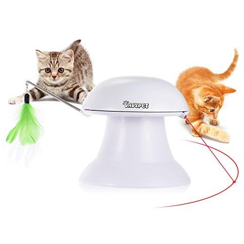 DADYPET Katzen Federspielzeug, Katzenspielzeug Elektrisch Katzenspielzeug Federstab Intelligenzspielzeug Katzenspiel Drehen Feder Spielzeug 360° Drehung mit Gefieder (Weiß)
